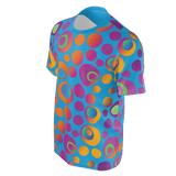 Brightspots unisex T-shirt: Multicolored retro-inspired circles & dots on blue background