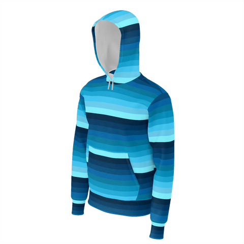Blue spectrum striped unisex/men's all-over print pullover hoodie