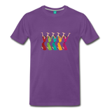 Happy '50s women jumping on a premium unisex T-shirt - purple