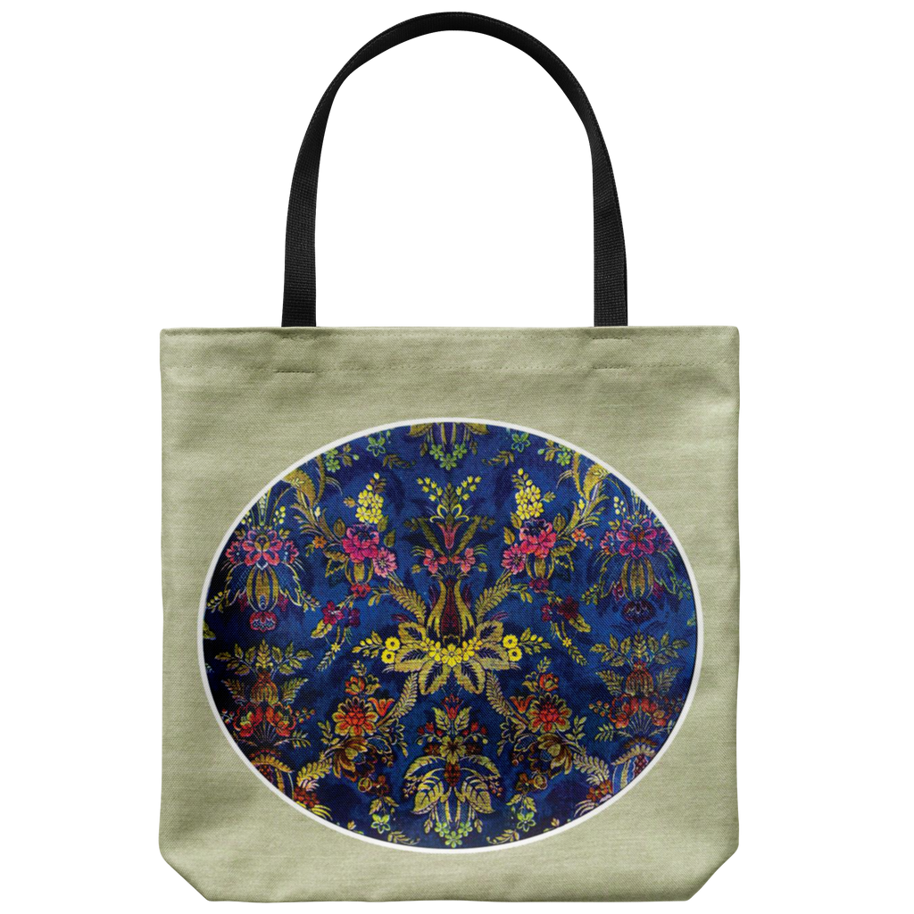 Tote bag with design in the style of exquisite antique Louis XV brocade, as envisioned in 1923
