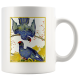 Mug with bright & happy blue parrots - vintage artwork