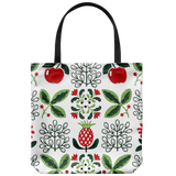 Tote bag with a retro '50s wallpaper pattern - fruit/red & green on white