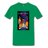 Times Square in New York City - Abstract vintage art on a on a premium unisex T-shirt - kelly green