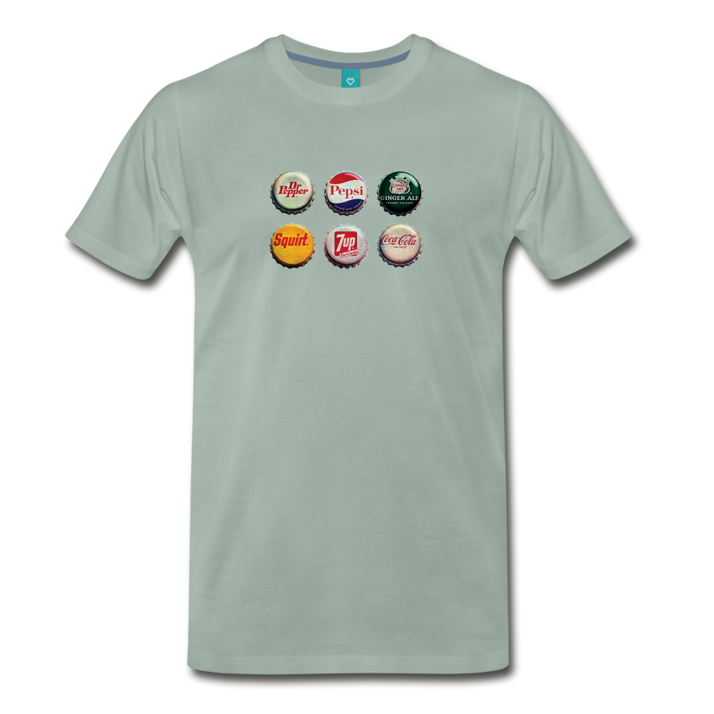 Bottle caps on a premium unisex T-shirt - steel green
