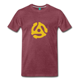Vintage single record insert on a premium unisex T-shirt - heather burgundy