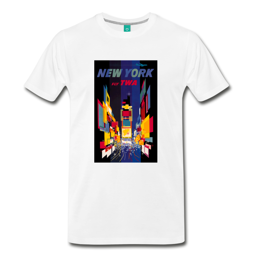 Times Square in New York City - Abstract vintage art on a on a premium unisex T-shirt - white