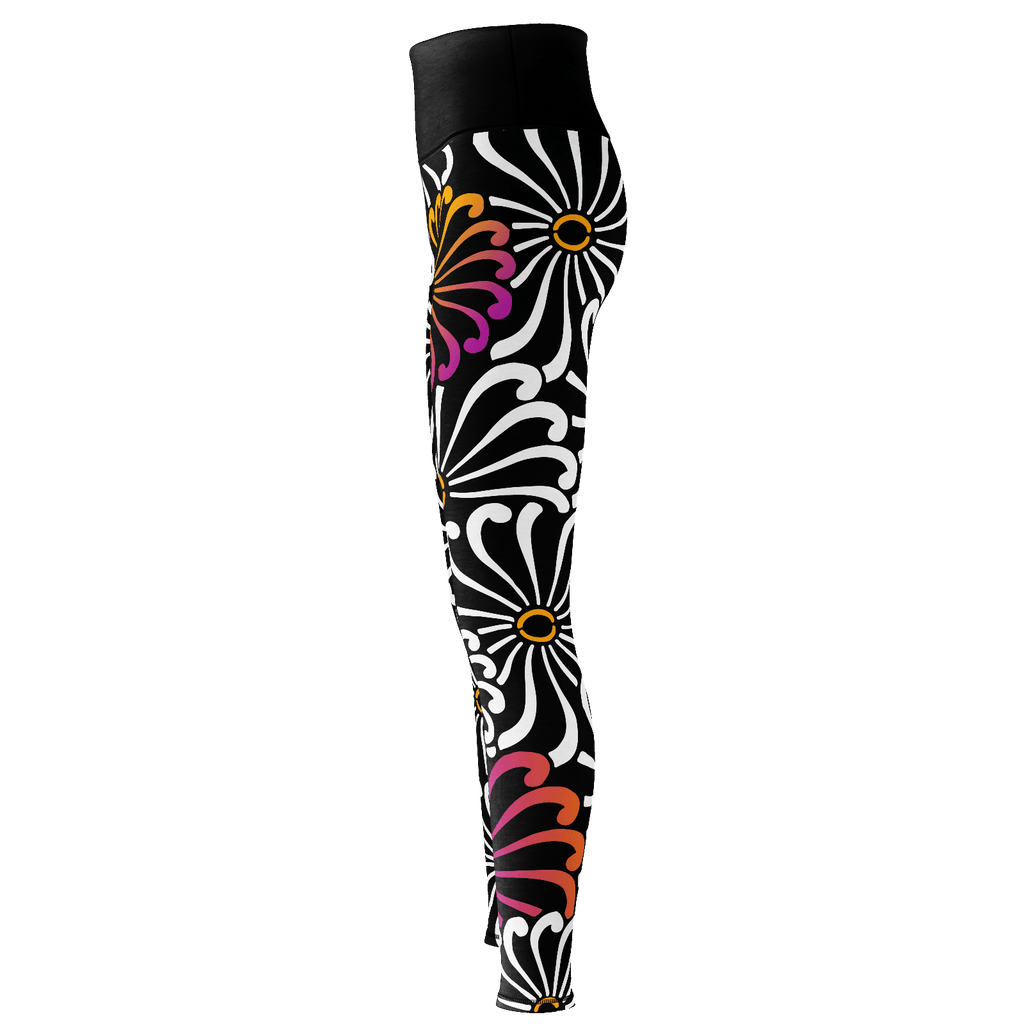 Chrysanthemum - Stylized all-over flower graphic on premium yoga pants/leggings