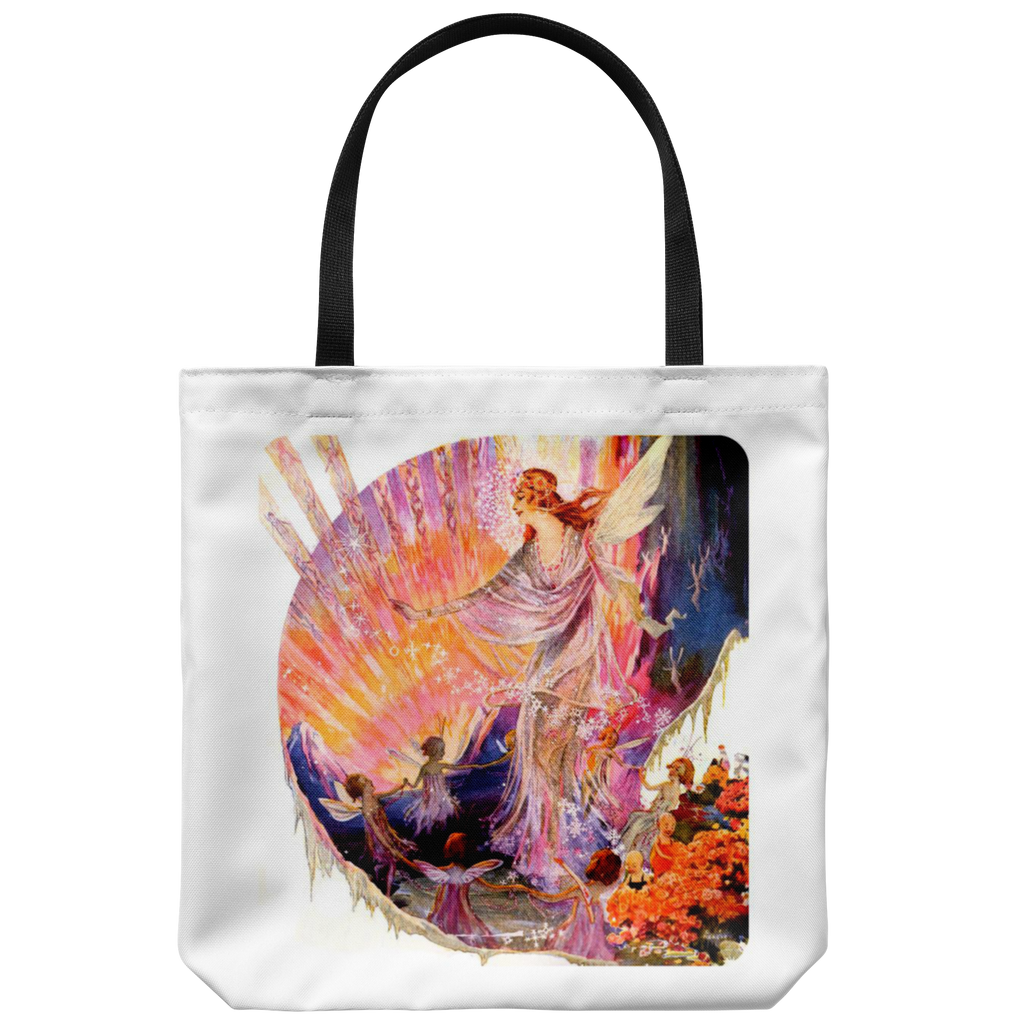 Tote bag with sunset fairy design from 1921