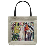 Tote bag with a charming 18th century garden party scene