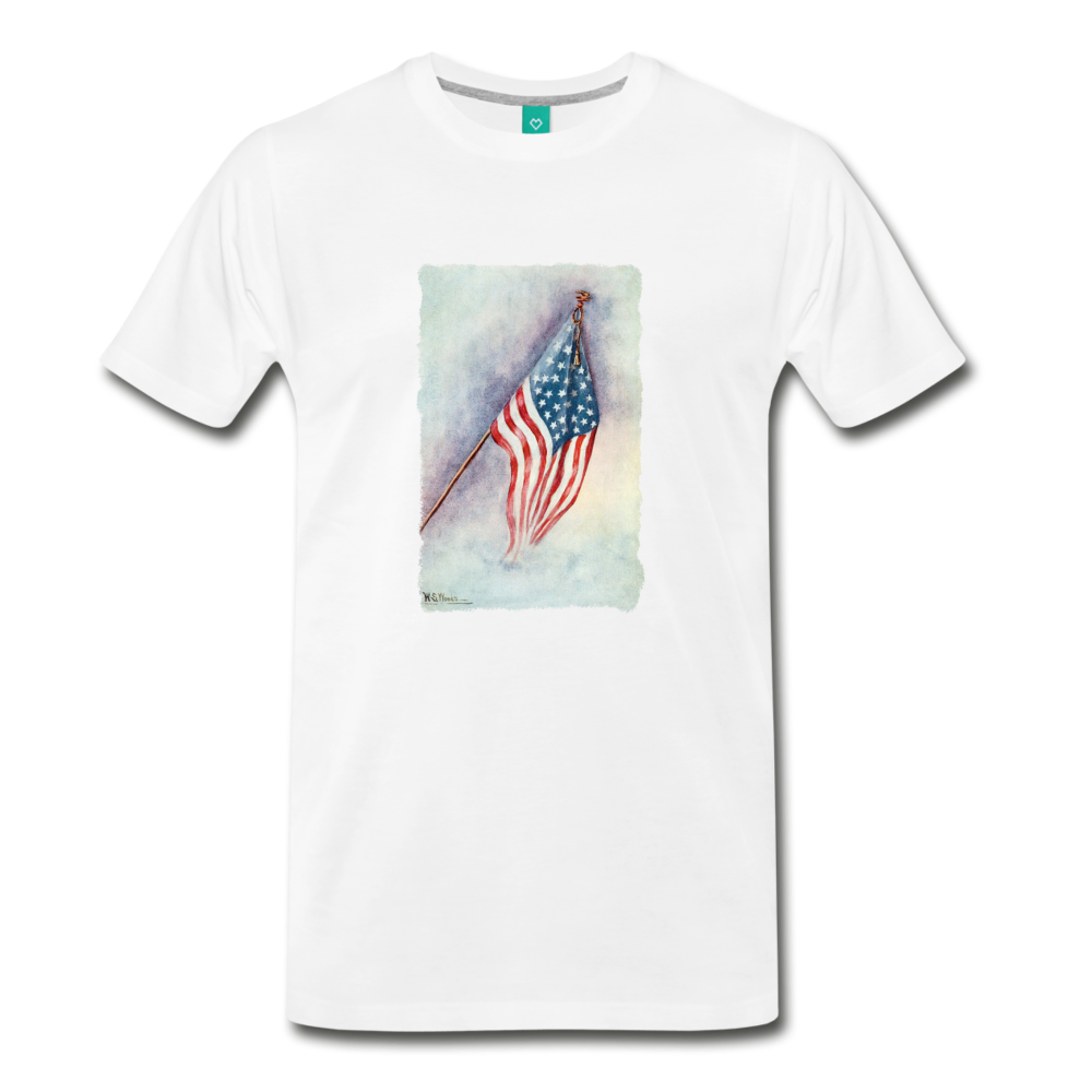 on a premium unisex T-shirt - white