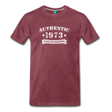 on a premium unisex T-shirt - heather burgundy