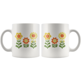 Sunnyflowers retro '70s cute floral design on 11-ounce mug