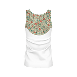 Ankara pattern women's tank - Half white with vintage Turkish embroidery design