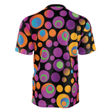 Brightspots unisex T-shirt: Multicolored retro-inspired circles & dots on black background