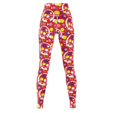 Moddots premium yoga pants/leggings, with a groovy retro '70s circle pattern (red base)