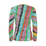 Emilia long-sleeve all-over-print women's shirt with retro '60s-inspired multicolored pastel watercolor pattern