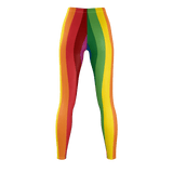RetroRainbow leggings with long colorful stripes in an '80s style