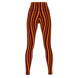 Cinnamon Stripe premium yoga pants/leggings with retro-style pattern