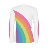 Vintage-style pastel rainbow shirt with wraparound design on a women's long-sleeve shirt on white