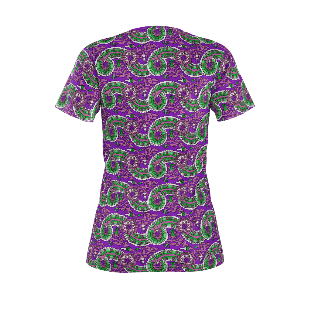 Dutch paisley all-over print women's T-shirt on purple