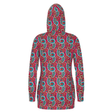 Dutch paisley pattern in raspberry long women's pullover hoodie
