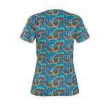 Dutch paisley all-over print women's T-shirt on blue