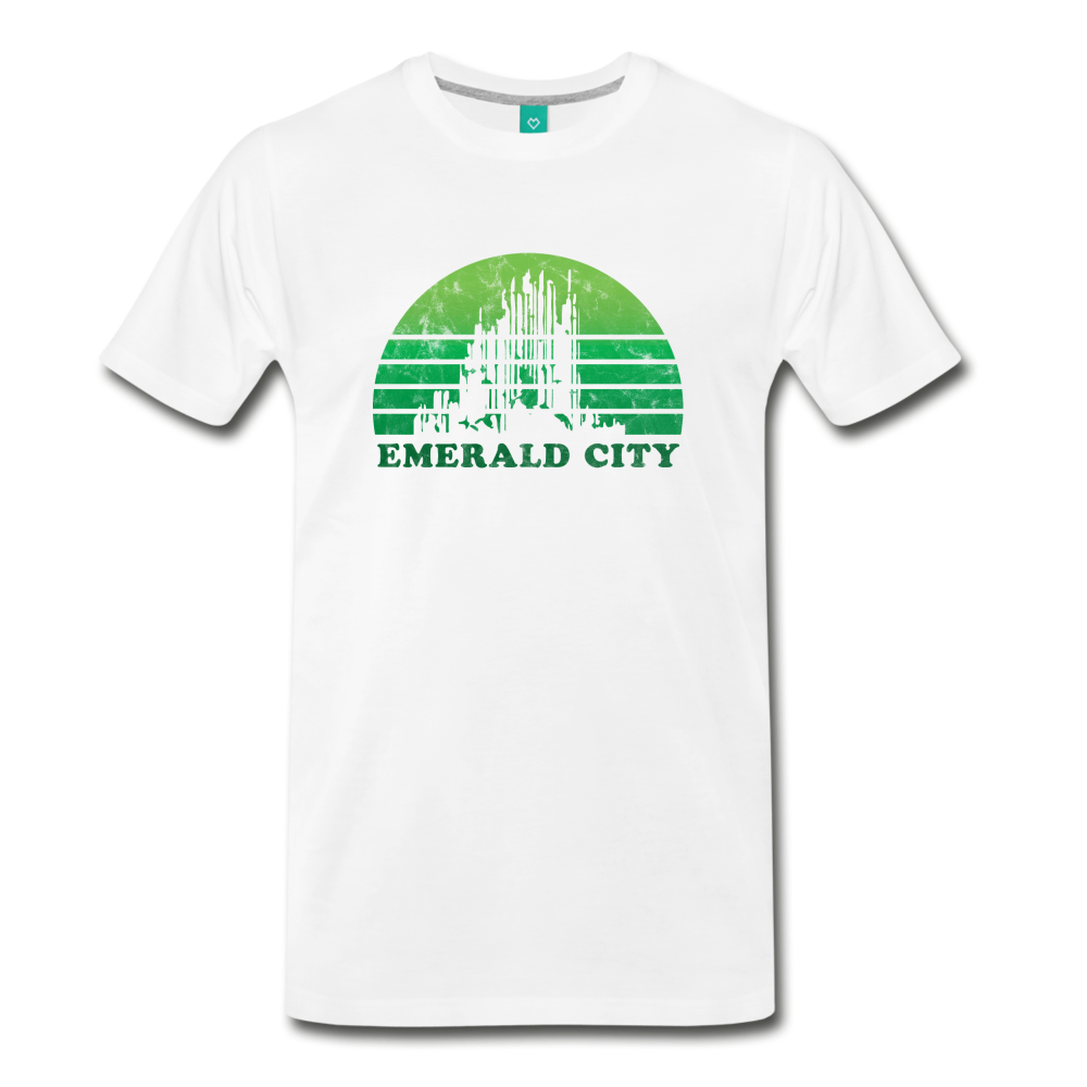 Emerald City - OZ T-shirt: Vintage-style distressed graphic on a premium unisex shirt - white