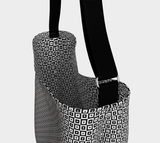 Illusive black & white roomy neoprene tote bag with small square optical illusion pattern