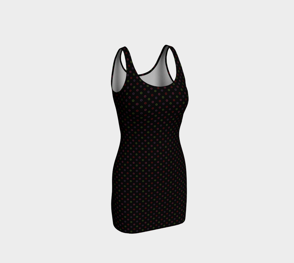 Hollowdot bodycon dress on black