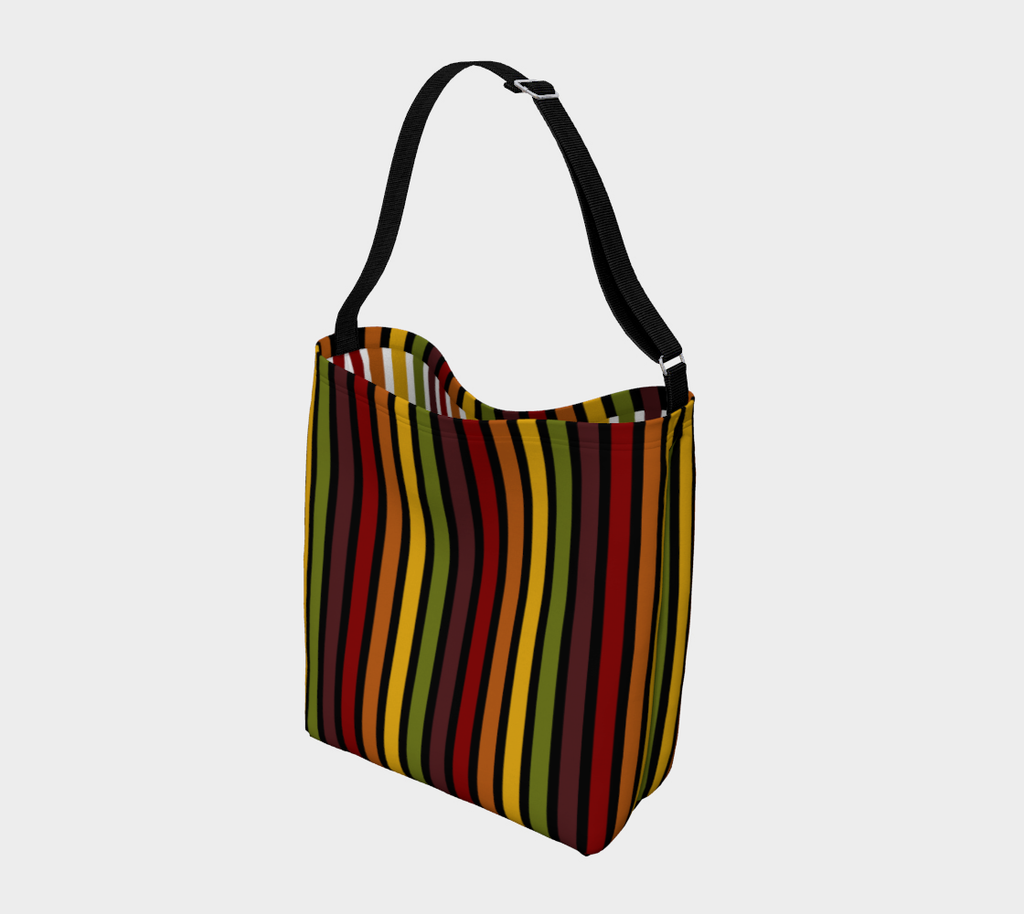 Marrakesh pattern retro '70s-style stripe roomy neoprene day tote bag - Vertical stripes, dark exterior, light interior