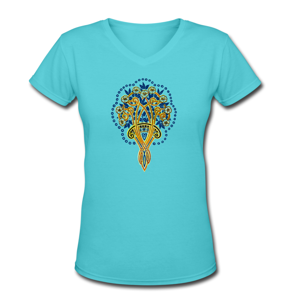 Women's V-Neck T-shirt - aqua