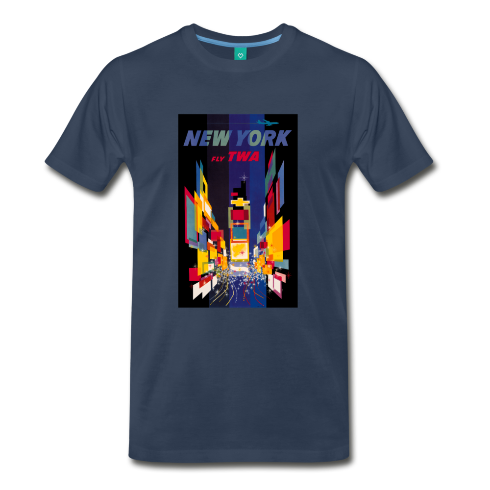 Times Square in New York City - Abstract vintage art on a on a premium unisex T-shirt - navy