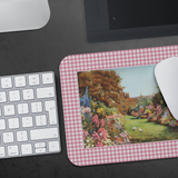 Mouse pad with a classic garden scene and pink check border