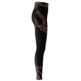 Victree premium yoga pants/leggings with black background and stylized tree graphic
