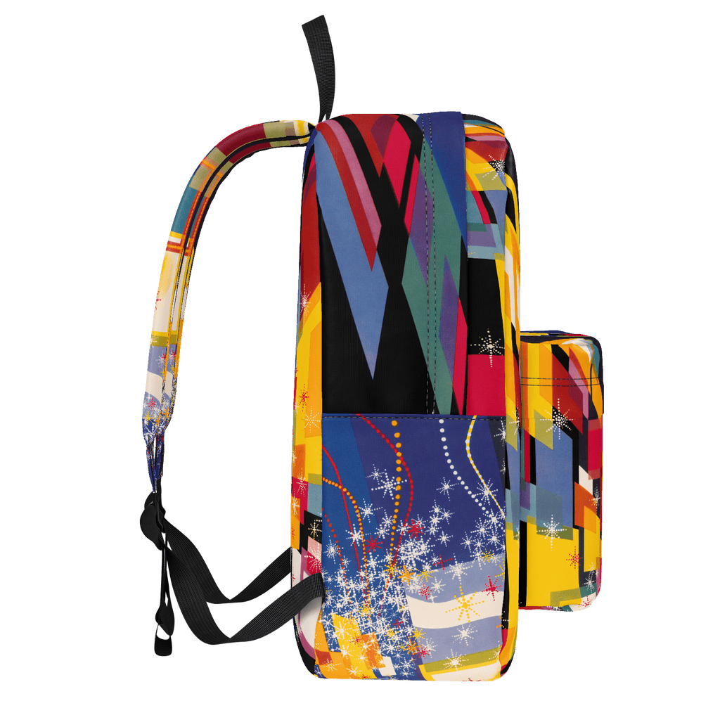 Retro NYC backpack: Colorful abstract '60s all-over print