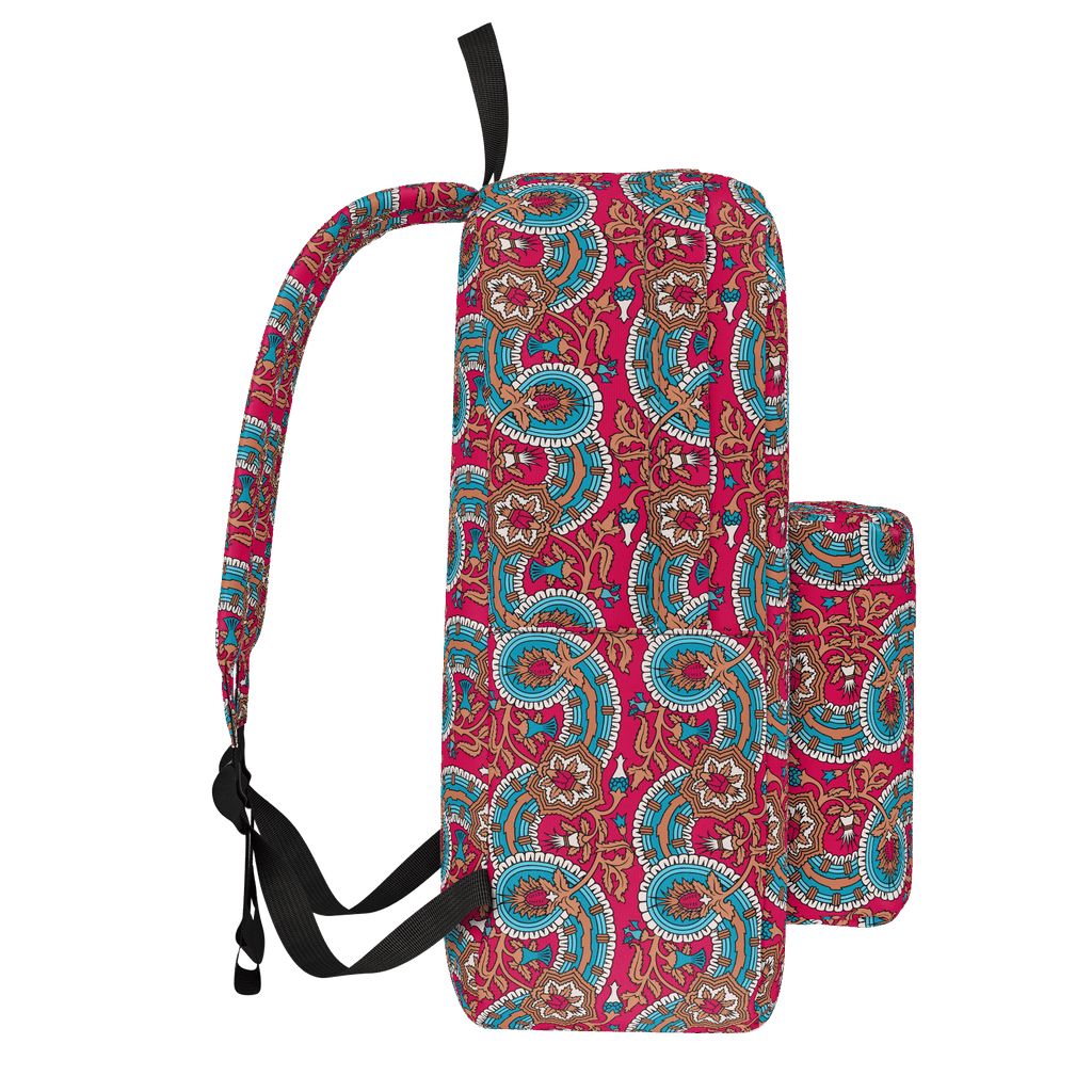 Dutch paisley all-over print backpack on raspberry