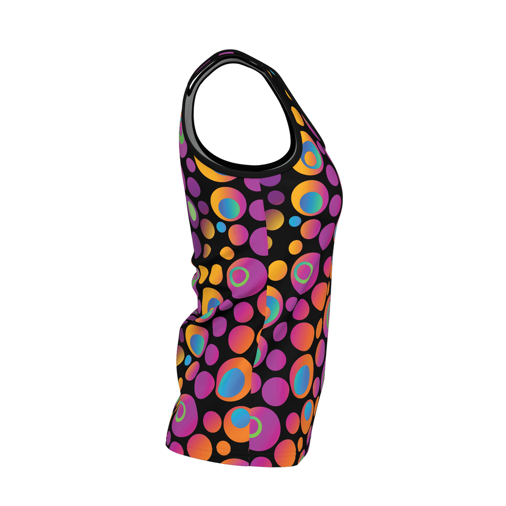 Brightspots women's tank top: Multicolored retro-inspired circles & dots on black background
