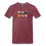 Bottle caps on a premium unisex T-shirt - heather burgundy
