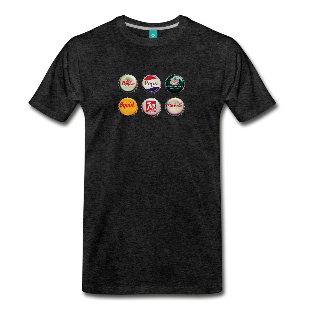 Bottle caps on a premium unisex T-shirt - charcoal gray