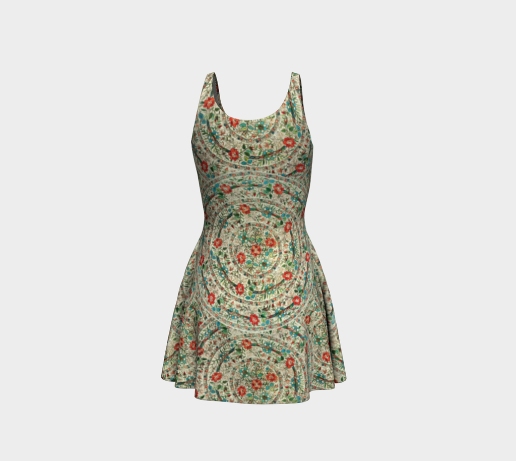 Ankara pattern flare dress with vintage Turkish embroidery design