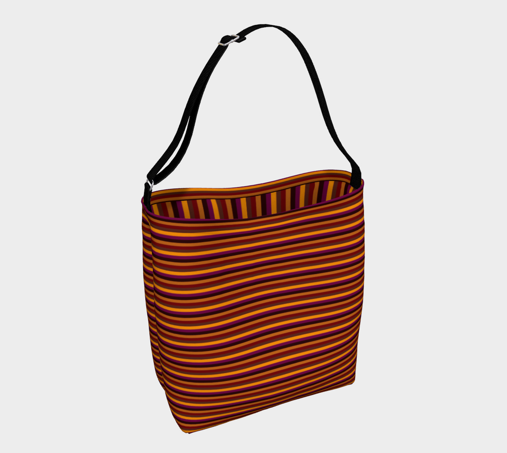 Cinnamon stripe roomy neoprene day tote bag in a retro earth-toned horizontal pattern