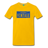 VINTAGE California license plate on a premium unisex T-shirt - sun yellow