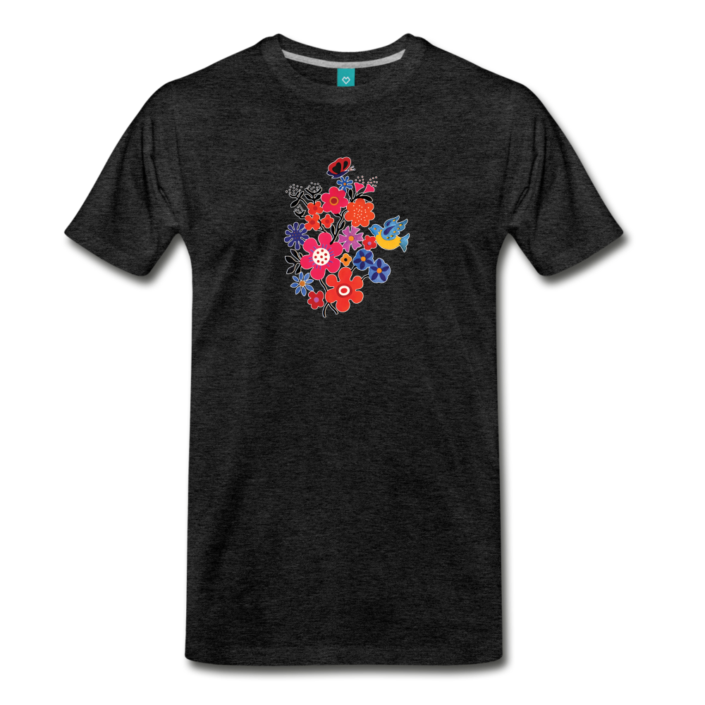 Retro 1973 flower pattern on a premium unisex T-shirt - charcoal gray
