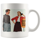Mug with vintage graphic of '50s teens flirting at the school bus stop
