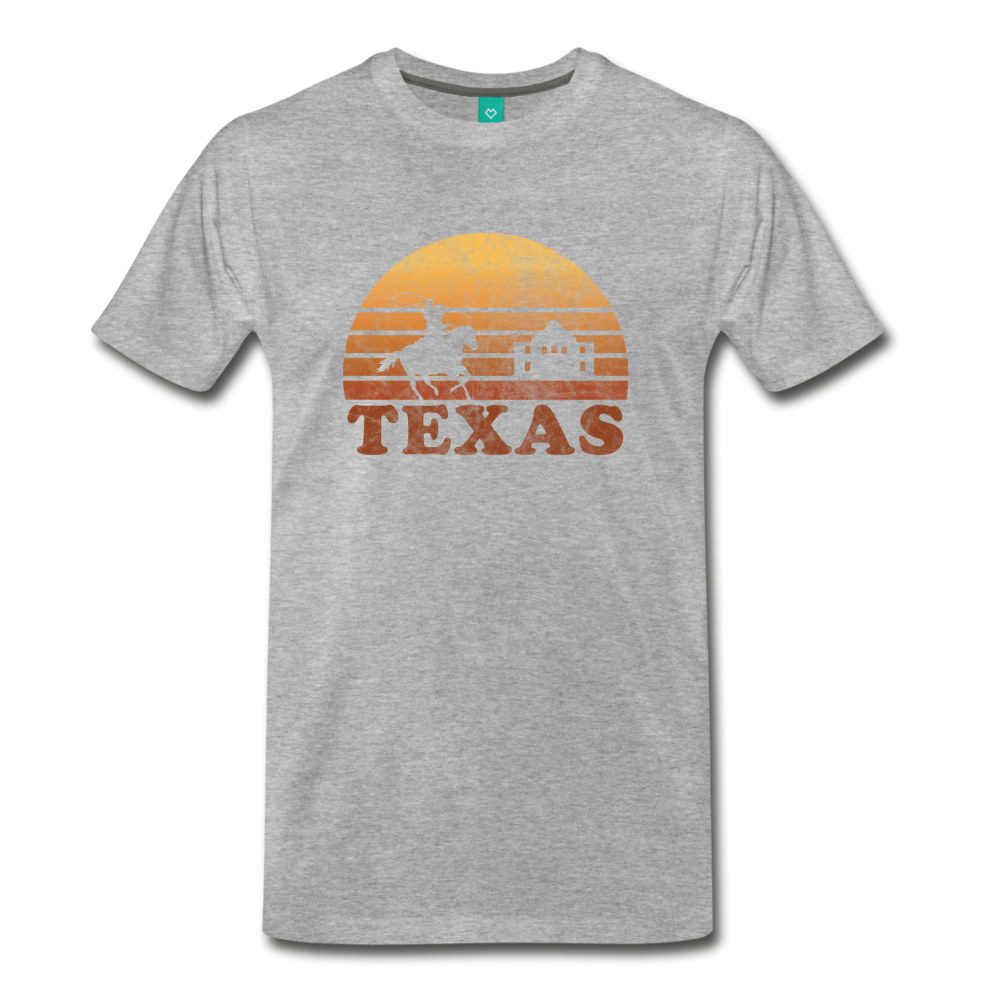 TEXAS state T-shirt: Vintage-style distressed graphic on a premium unisex shirt - heather gray
