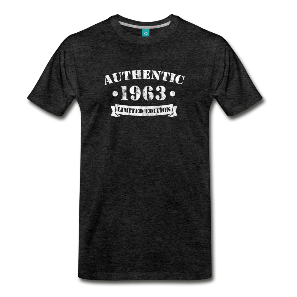 on a premium unisex T-shirt - charcoal gray