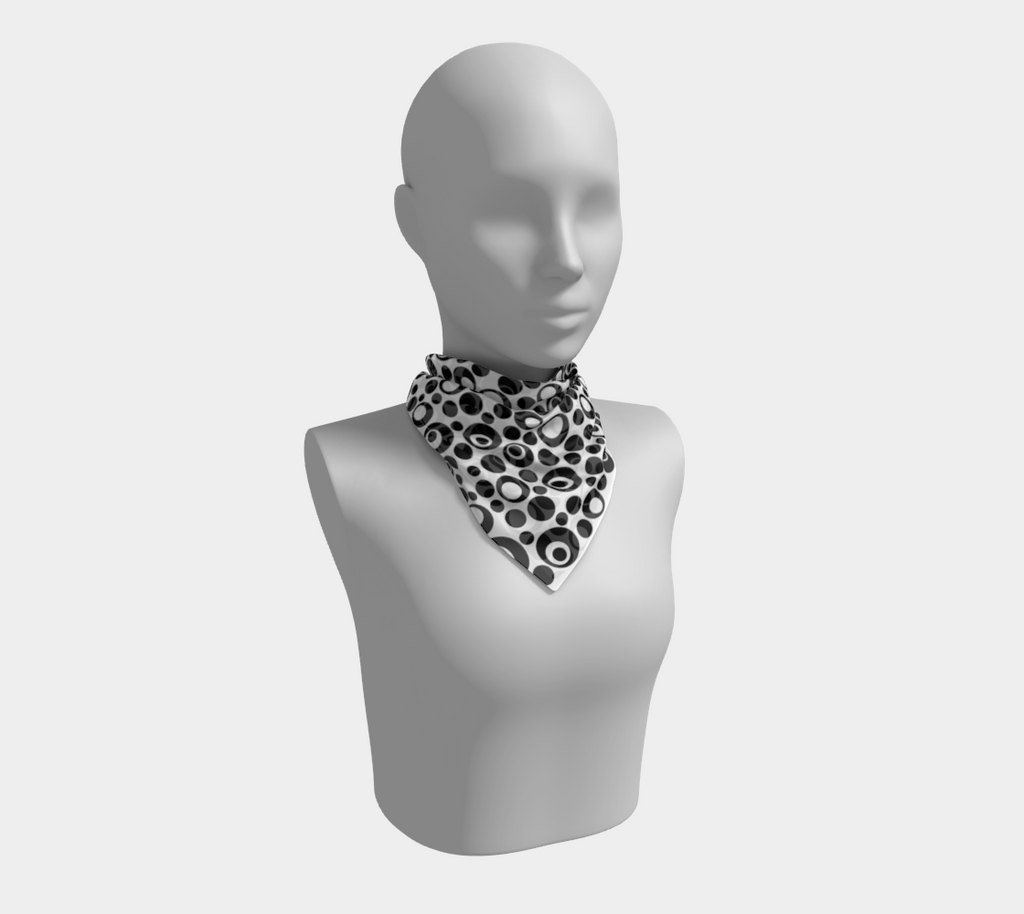 Retrodots black & white square scarf