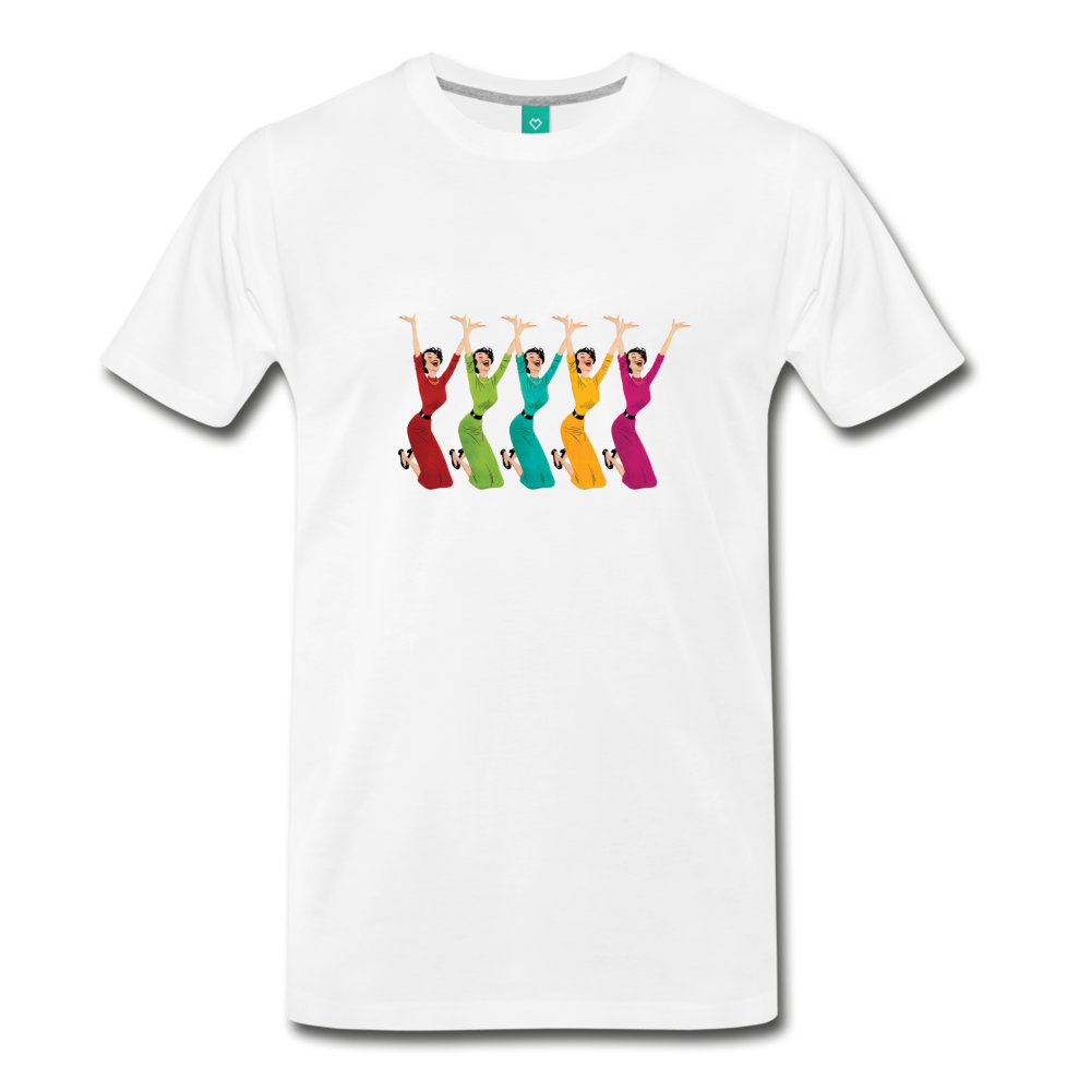 Happy '50s women jumping on a premium unisex T-shirt - white