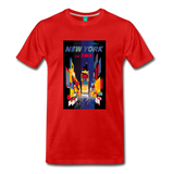 Times Square in New York City - Abstract vintage art on a on a premium unisex T-shirt - red