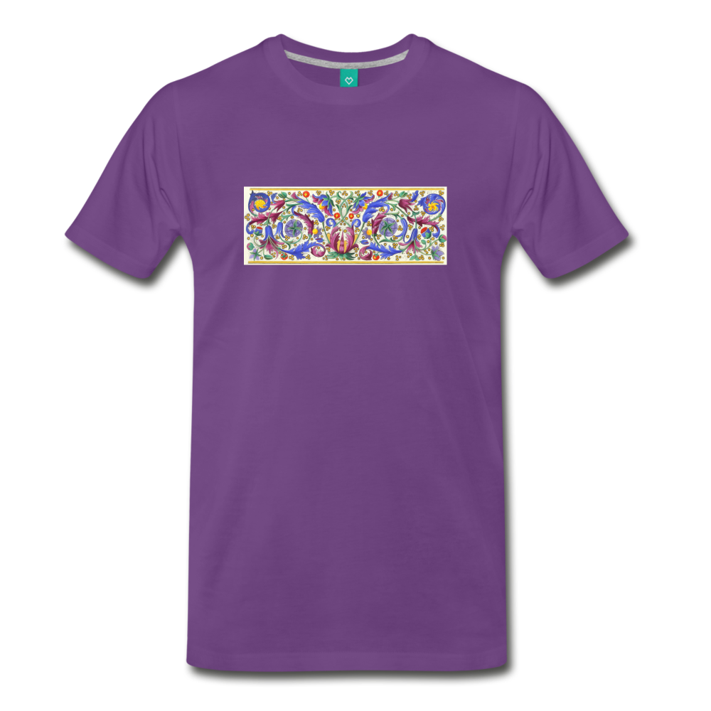 Ancient illuminated art - on a premium unisex T-shirt - purple